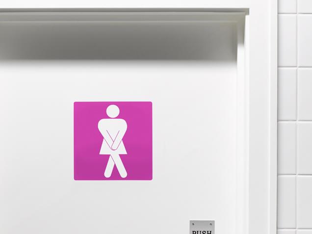 Desperate lady toilet door sign
